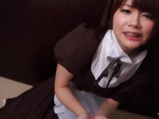 Immense Throbber Drools Fountain Over Kawaii Japanese Maid's Lips