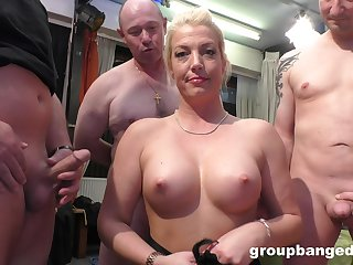 Gangbang with her friends is something that blonde lady remembers