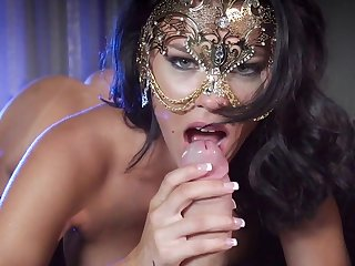 Masked milf disconsolate porn fantasy with younger man