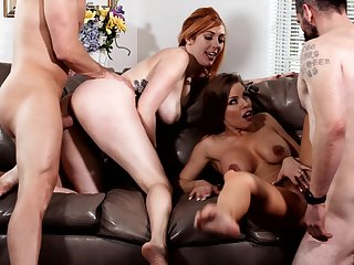 Britney Amber and Lauren Phillips swap cum in a hardcore foursome