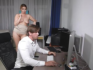 Nikky Dream sucks a stiff on at work