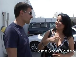 Playful Latina MILF swallows a cumshot at the parking lot