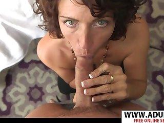 Raunchy MILF Janet Sloppy Blowjob
