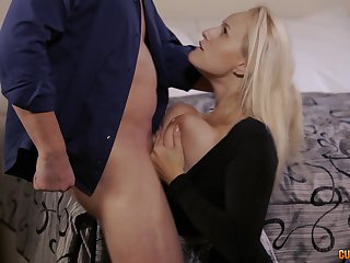 Busty blonde MILF Angel Wicky gets cum all over her huge tits
