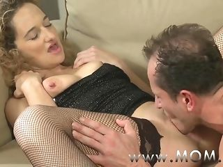 Mommy nasty frizzled haired cougar object pummeled on the couch porn video