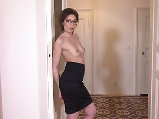 Sex-starved Czech chick in glasses Meggie Marika plays with her hairy muff