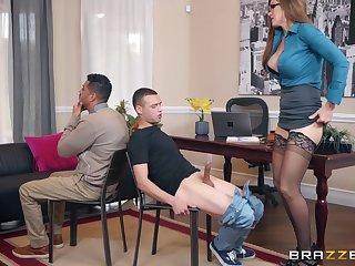 Long haired secretary Ivy Secret fucks her hung boss at the office
