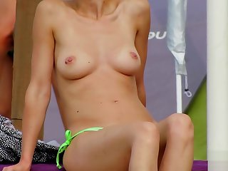 Amateur Topless MILFs - Spy Beach Close-Up Video