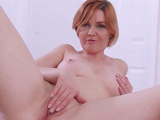 Redhead mommy stepmom masturbating with nasty stepson