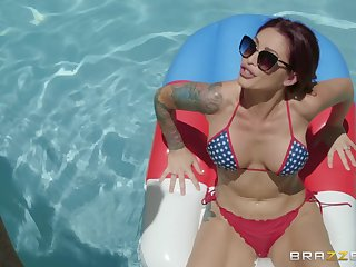 Bombshell purple haired chick Monique Alexander anal doggy fucked
