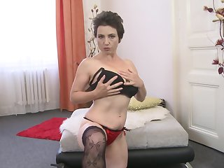 Short haired MILF Ailana takes off her dress and masturbates