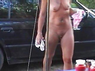 Chrissi, German Slut Naked Car Cleaning!