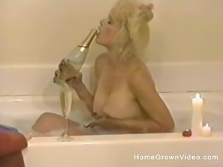 busty milf enjoys bubbling bath before amazing masturbation on the bed