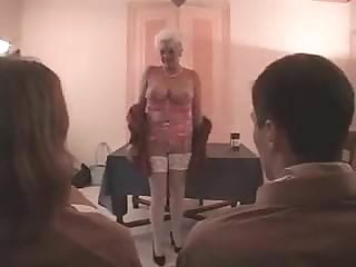 Horny old slut and two virgin guys with gigantic dicks