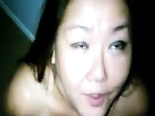 Amateur Asian milf big load in her mouth and tongue
