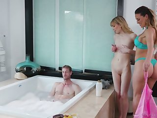 Two gorgeous masseuses are fucking one handsome guy with big dick