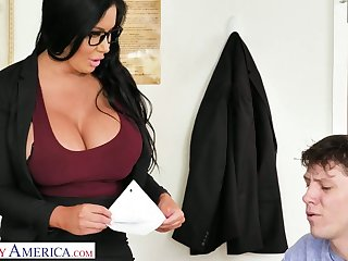 More than simply appetizing giant breasted MILFie tutor Sybil Stallone gives titjob