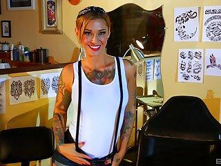 Tattooed hottie Kleio Valentien enjoys hard sex games with her friend