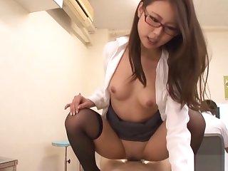 Naughty Japanese AV model plays nurse in hot threesome
