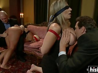 After Sara and Kait sucked on stiff cocks, they got their asses shagged