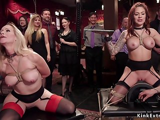 Babes serving and humping at bdsm party