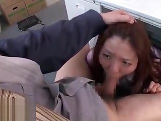 Japanese secretary face fucked by old boss