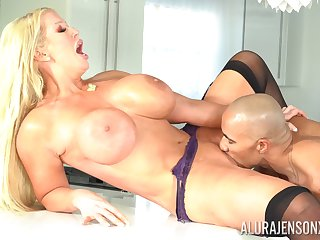 Alura Jenson feeds her shaved pussy with stranger's long penis