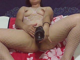 Asian MILF - Monster Black Dildo Too Big For Pussy