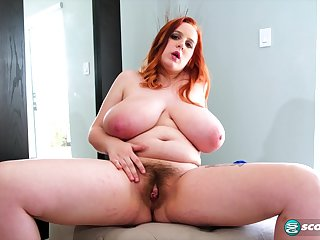 Busty BBW Lissa Hope shows her hairy pussy