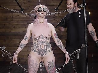 Submissive babe clamped by the clit and brutally fucked