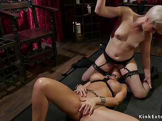 Big-Breasted lesbian Mom gets exposed bootie whipped