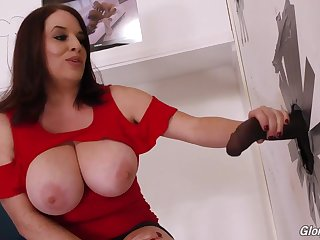 Maggie Green and long black dick out the gloryhole