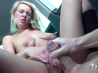 Blonde MILF with glasses Luci Angel gets her pussy pounded in a car