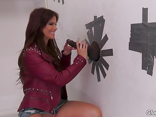 Nasty MILF brunette Syren Demer fucks a big black glory hole cock