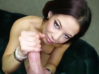 Busty Mature Tugging Oiled Dick In Pov