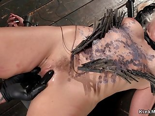 Heavy-Breasted blond hair lady hair babe tormented and waxed