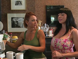 MILF lesbian pornstars Janet Mason and Karen Kougar in the kitchen