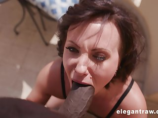 Short haired mature slut Alysa Gap missionary fucked by a black cock