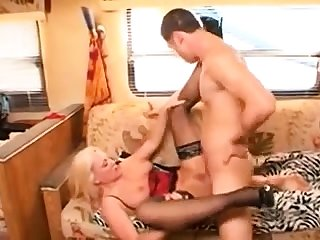 Busty milf in stockings sucks big hard cock in gang bang