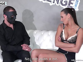 Mea Melone sucks a masked mans cock and gets fucked doggy style