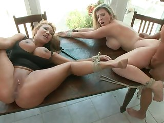 Cruel BDSM sex orgy with two big titted moms. Full clip. HD.