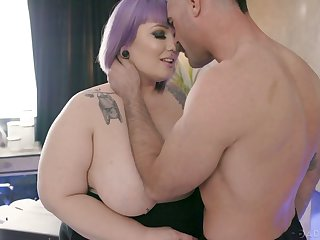 Ardent purple haired BBW is properly fucked doggy by aroused Charles Dera