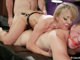 Cuckold hubby gets big-titted wife screwed