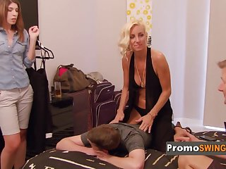 Milf swinger couple signs contract .